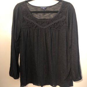 Black American Eagle Lace Blouse
